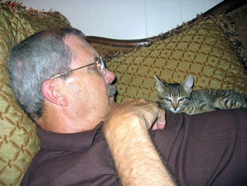 Daddy and MacGyver when he was four weeks old.