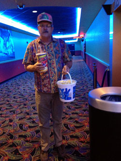 Daddy with his Annual Popcorn Bucket