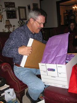Daddy getting stoked over a gift